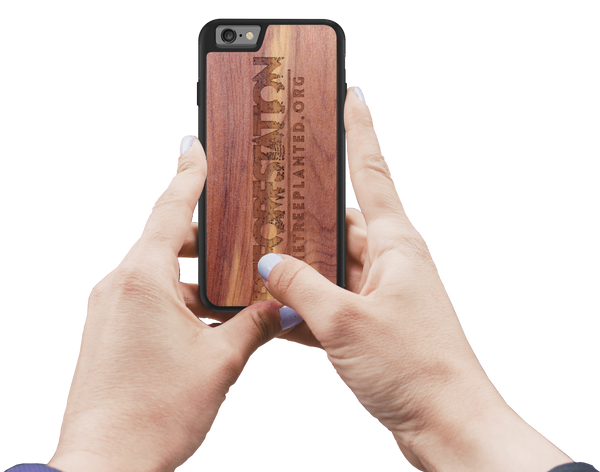 reforestation phone case in aromatic cedar for one tree planted