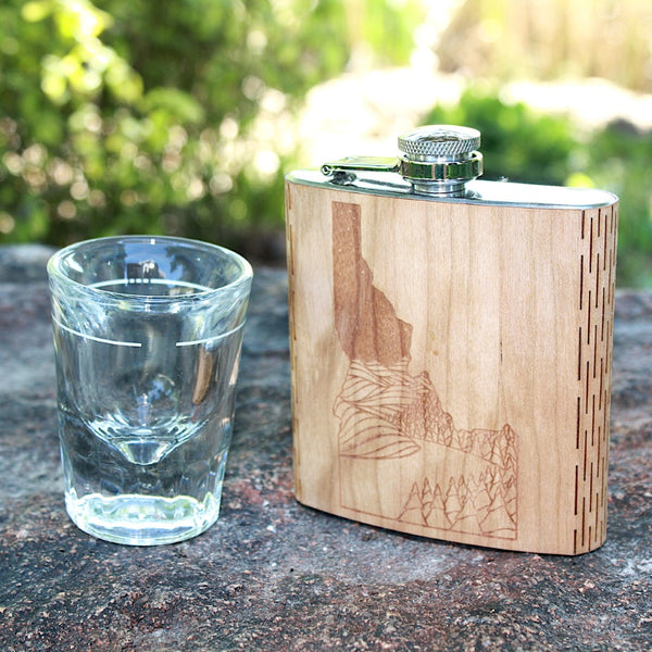 Idaho Landscape 6 oz. Wooden Hip Flask - Outdoor Adventure Collection - Art by Ben McKenzie