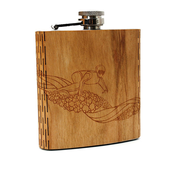Snowboarder Landscape 6 oz. Wooden Hip Flask - Outdoor Adventure Collection - Art by Ben McKenzie