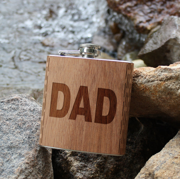 Father's Day Engraved Wooden Flask