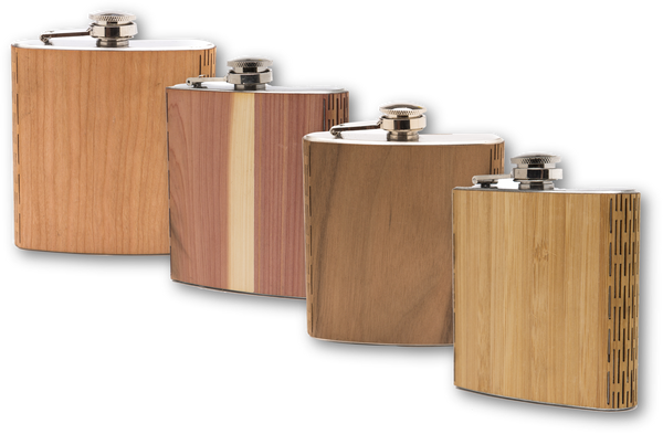 promotional products sample kit wooden flask, wooden hip flask, wood flask