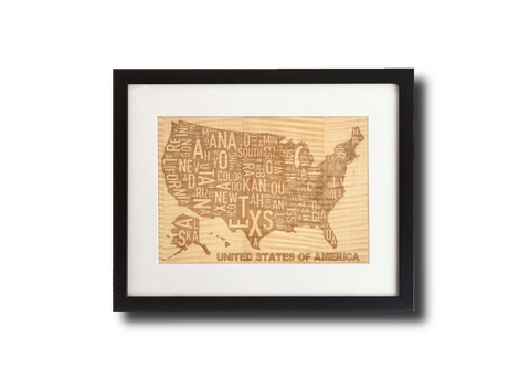 "USA Map in words laser engraved from shimmering maple and framed 11"" x 14"""