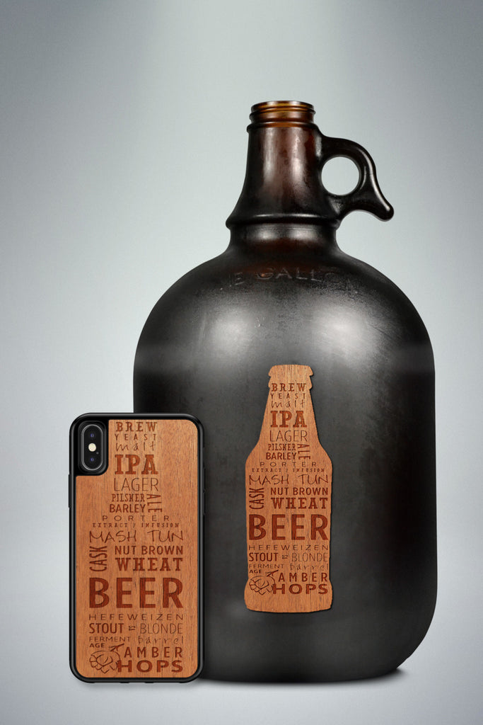 microbrew craft beer phone case wood phone cover mahogany walnut laser engraved iphone samsung galaxy matching wood growler sticker