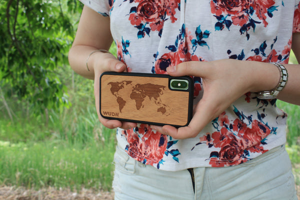 Wooden world map iphone X case