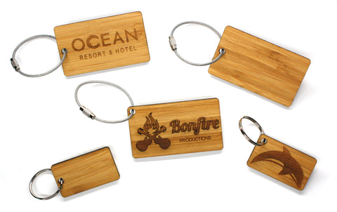 Solid Bamboo Promotional Keychains custom engraved