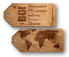 Wooden Personalized Luggage Bag Tags Promotional Product Wholesale Laser Engraved Customized WUDN Swag