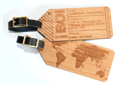 Luggage Tags American Cherry Wood