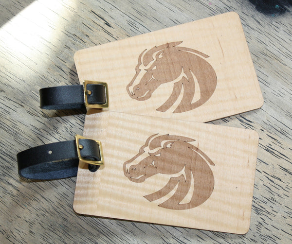 Slim wooden luggage tags pair BSU Boise State Broncos football laser-engraved