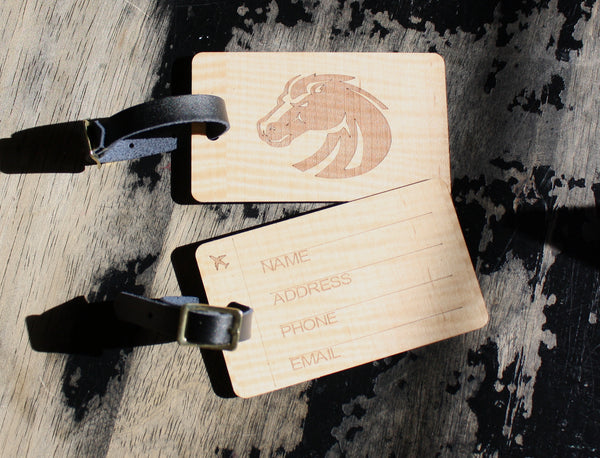 Slim wooden luggage tags pair BSU Broncos football laser-engraved