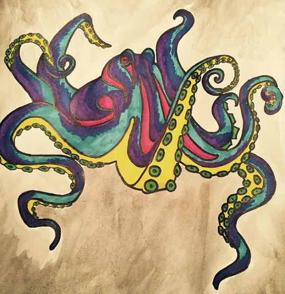 Original Art - Jake Lindberg - Graffiti Octopus for wooden phone case