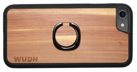 Ringsta ring phone holder on matching cedar iPhone case.