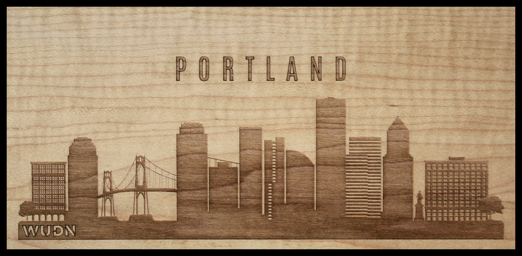 Portland Oregon CityScape City Skyline Wooden Phone Case