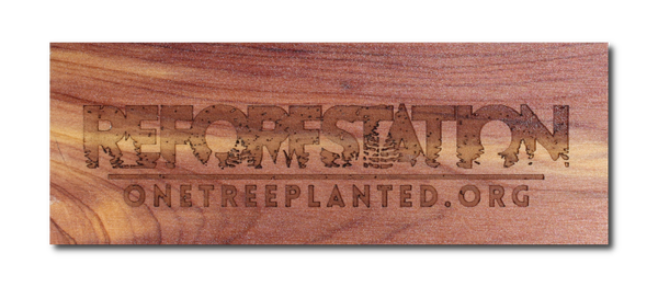 reforestation sticker in real wood - comes with every reforestation phone case