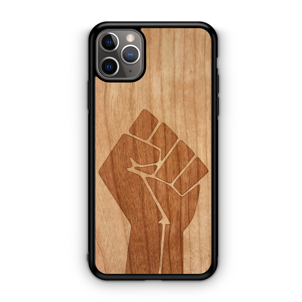Black Lives Matter Fist Case Laser Engraved in American Cherry