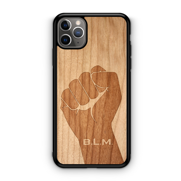 Wooden phone case, black lives matter, fist blm in American Cherry