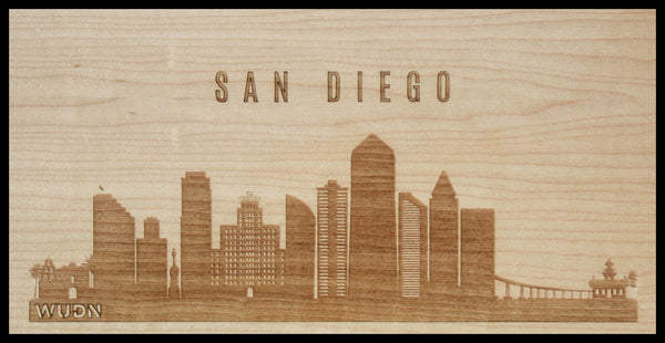 San Diego California CityScape City Skyline Wooden Phone Case