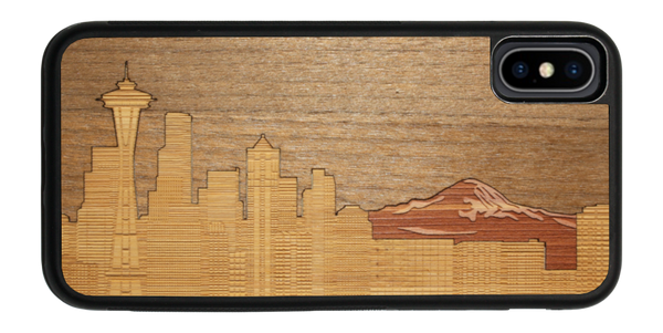 Slim wooden iPhone Case - Seattle Skyline Mt. Rainier