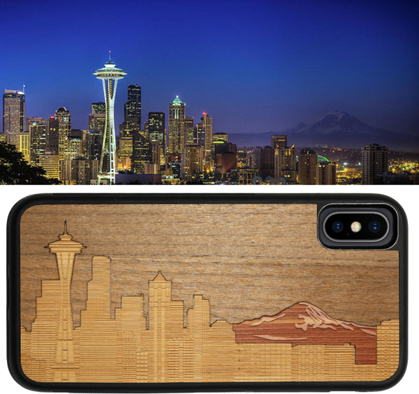 Seattle, Mt. Rainier, Skyline, Emerald City, Apple iPhone X, iPhone Xs, iPhone 10s, New 2018, WUDN, Wooden iPhone Case, wood iPhone case, ultra-slim iPhone case