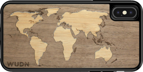 wood world map iphone case