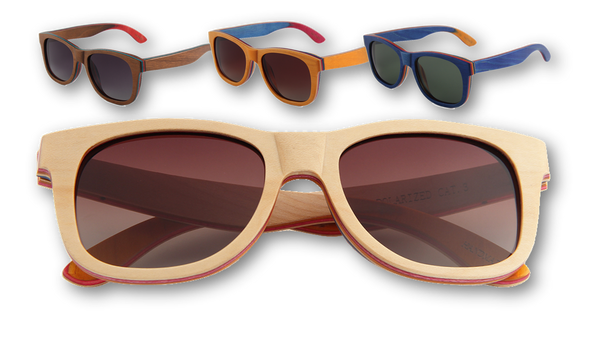 Wooden sunglasses recycled skatedeck sunglasses
