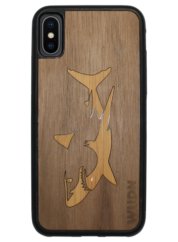 Great white shark case in walnut and bamboo for iPhone and samsung galaxy