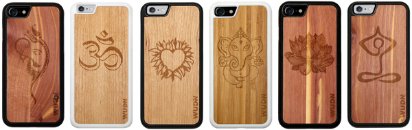 Yoga inspired slim wooden phone case designs for iphone and samsung galaxy phones
