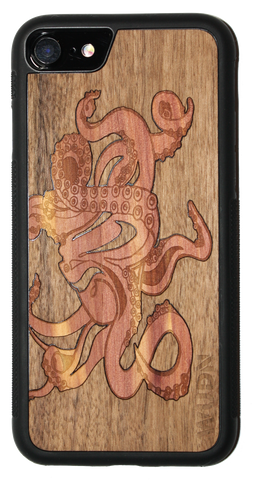 "Slim phone case - badass ""Graffiti Octopus"" in mahogany and aromatic cedar"