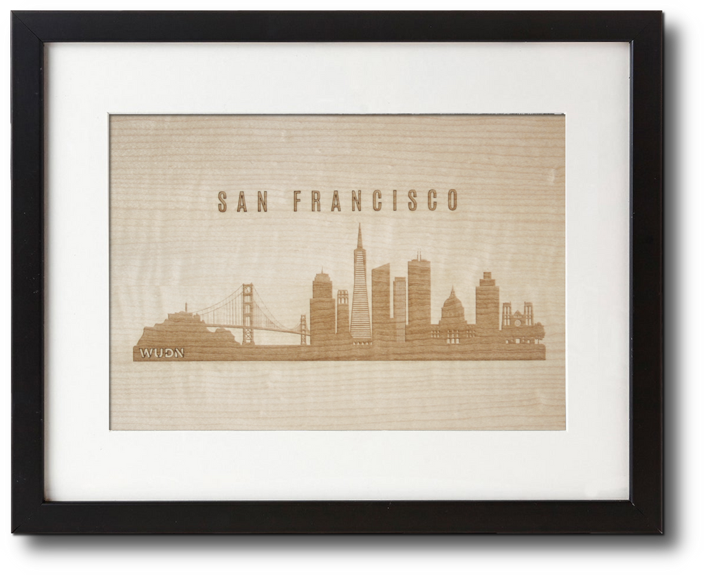 Laser engraved wood wall art in shimmering maple cityscape city skyline collection