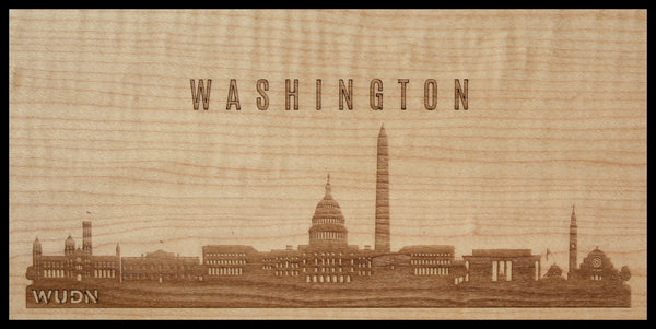Washington DC CityScape City Skyline Wooden Phone Case