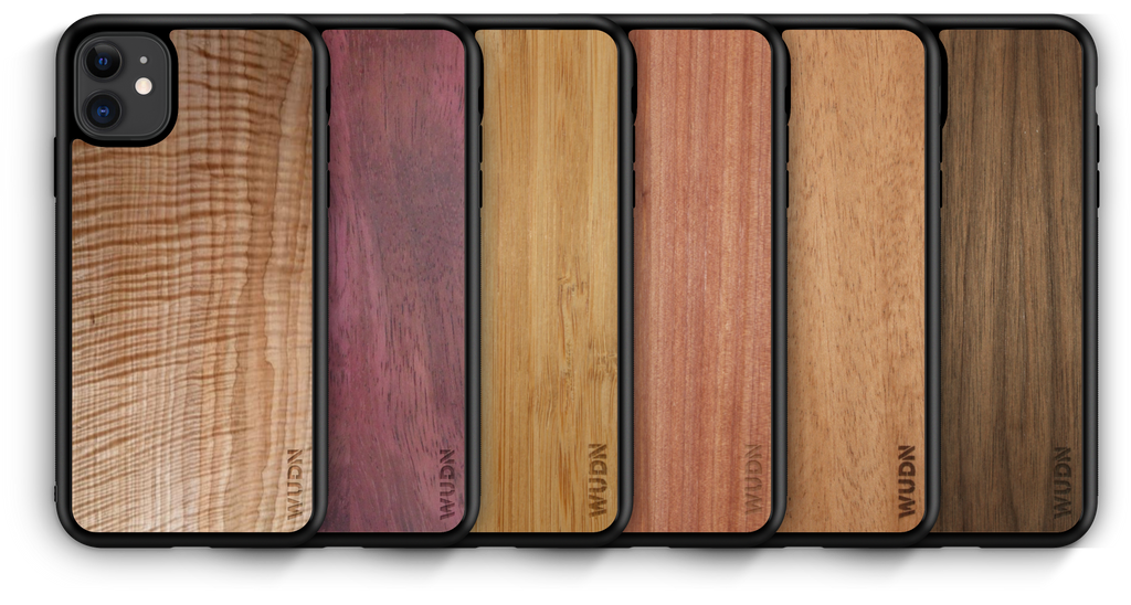 Wooden iphone 11 cases in 6 beautiful wood species