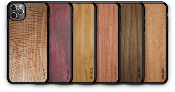 wooden laser engraved phone case, walnut bamboo split design