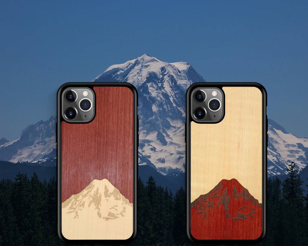 The beauty and majesty of Mt. Rainier laser-cut and laser-engraved in real Purple Heart wood and Shimmering Maple wood.