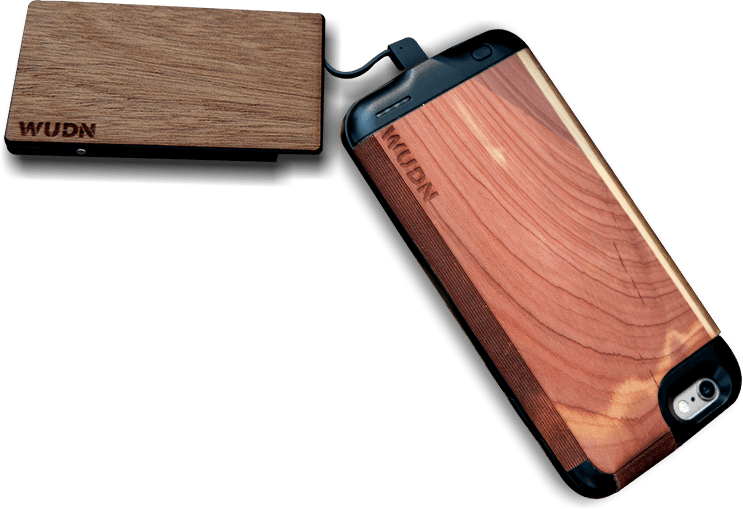 wooden iphone battery case