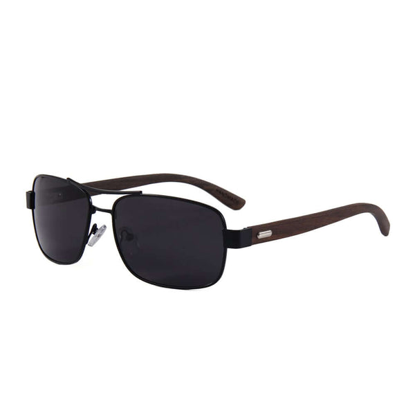 Real Ebony Wood Black Frame Slim Aviators by WUDN, Sunglasses - WUDN