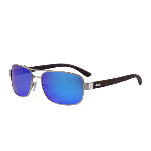 Men & Women's Ebony wood, Silver framed, Slim Aviators