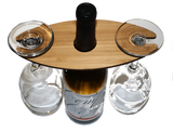 Customizable Wooden Wine Glass Caddy - Two Glass, Bar - WUDN