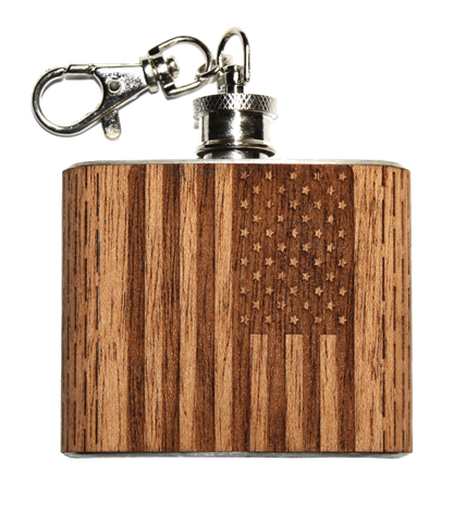 2 oz American Flag Keychain Flask, Bar - WUDN