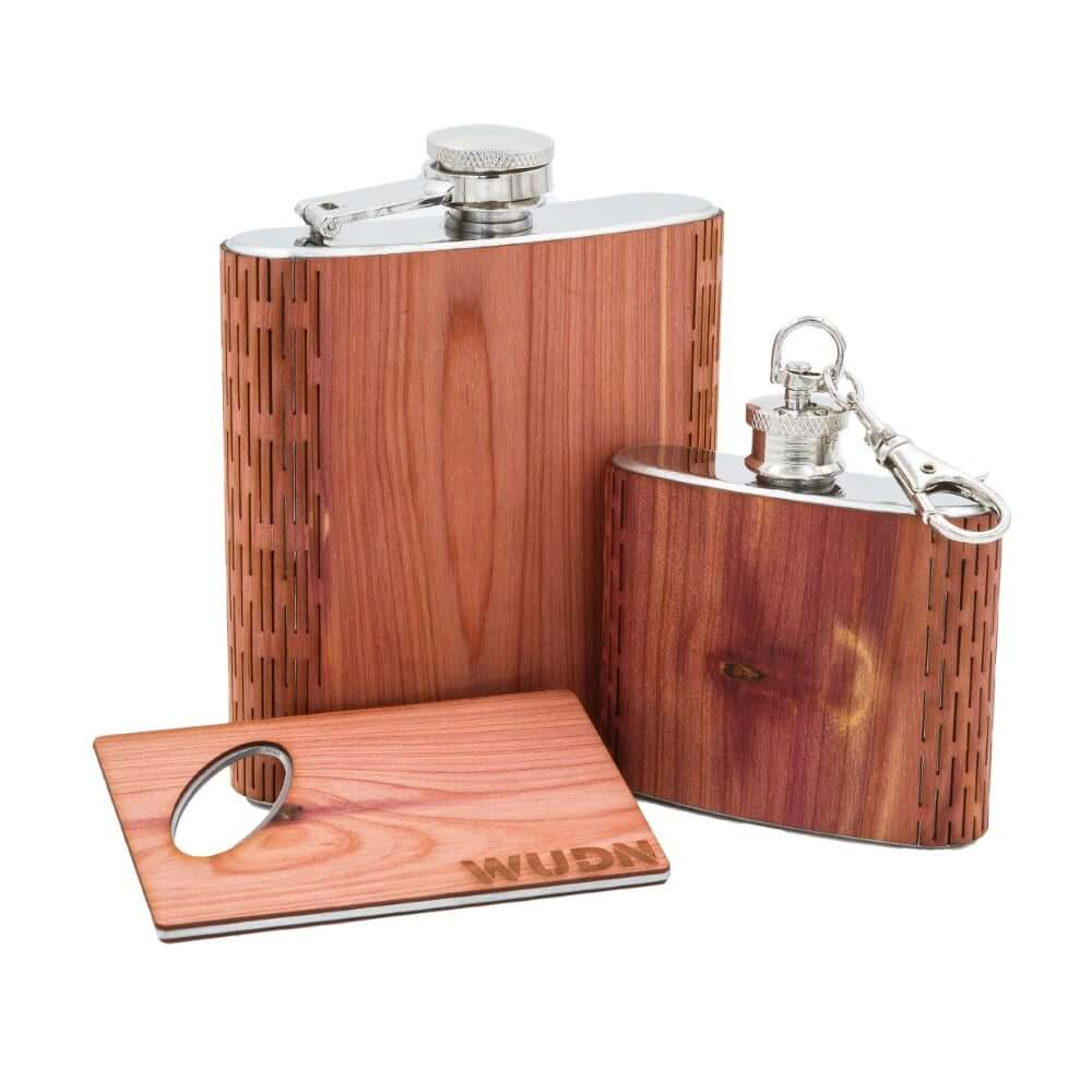 3-Piece Wooden Flask Set (6 oz. Hip Flask, 2 oz. Keychain Flask, Credit Card Bottle Opener)