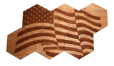 Solid Wood Coasters (6-Pack - American Flag)