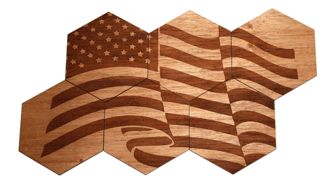 Solid Wood Coasters | 6-Pack | American Flag, Bar - WUDN