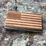 American Flag Wooden Business Card Holder