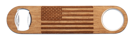 American Flag Wood Industrial Bottle Opener, Bar - WUDN