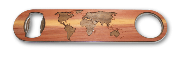 Industrial Wood Bottle Opener - World Map Traveler
