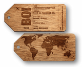 Customizable Wooden Luggage Tags (Pair) | Luggage Tag Traveler, Home and Office - WUDN