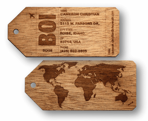 Customizable Wooden Luggage Tags (Pair) (Mahogany) | Luggage Tag Traveler