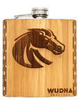 BSU Bronco - 6 oz. Wooden Hip Flask, Bar - WUDN