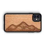 Real wooden phone cases mahogany mountain biker outdoor adventure laser engraved
