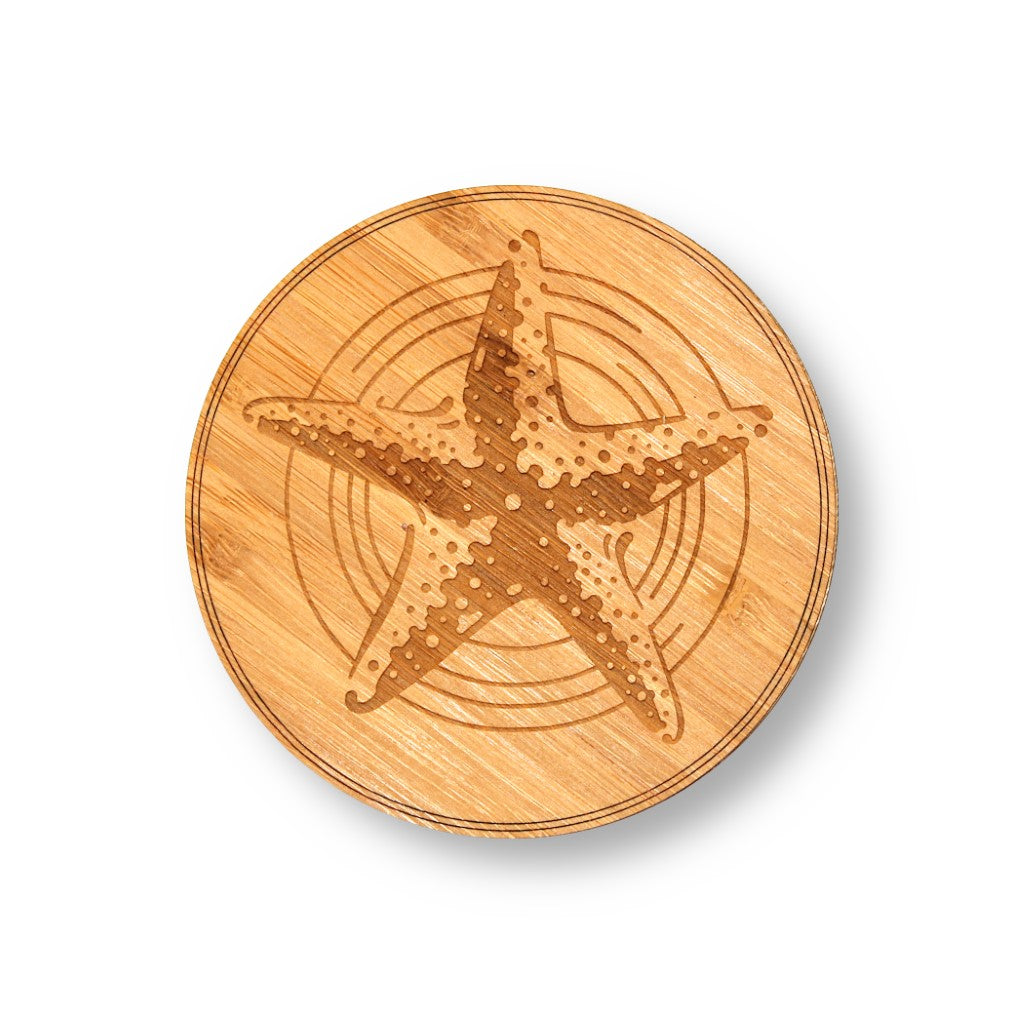 "Wooden Coasters 4"" (Starfish in Bamboo) 4-Pack"