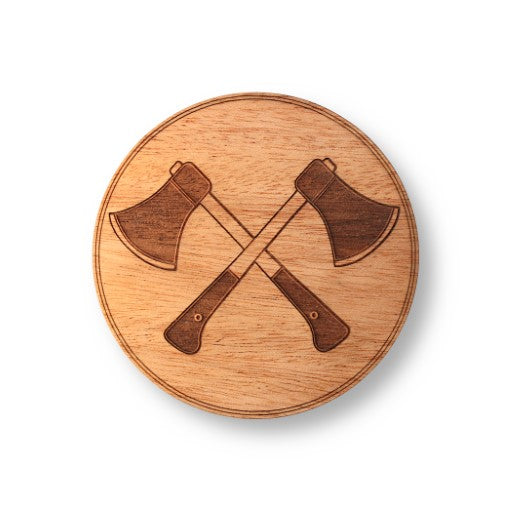 "Wooden Coasters 4"" (Crossed Hatchets in Mahogany) 4-Pack"