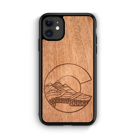 Wooden Phone Case | Outdoor Adventure - Colorado Flag Night Landscape